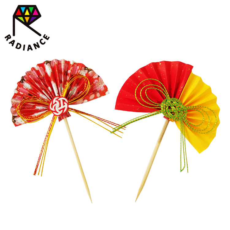 65mm Chinese style fan shape wooden bamboo dental picks toothpick for food