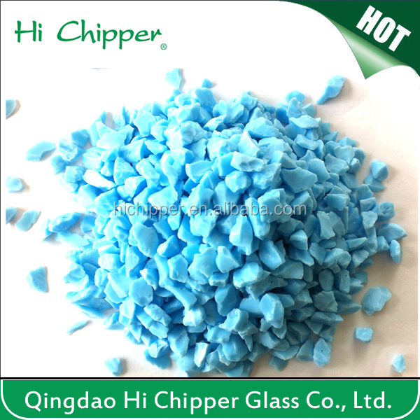 Sky blue colored terrazzo artificial stone and garden decoration opaque glass chips