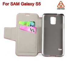 Luxury card slot leather case for samsung galaxy s5 , foldable leather case magnetic faux leather case for samsung galaxy s5
