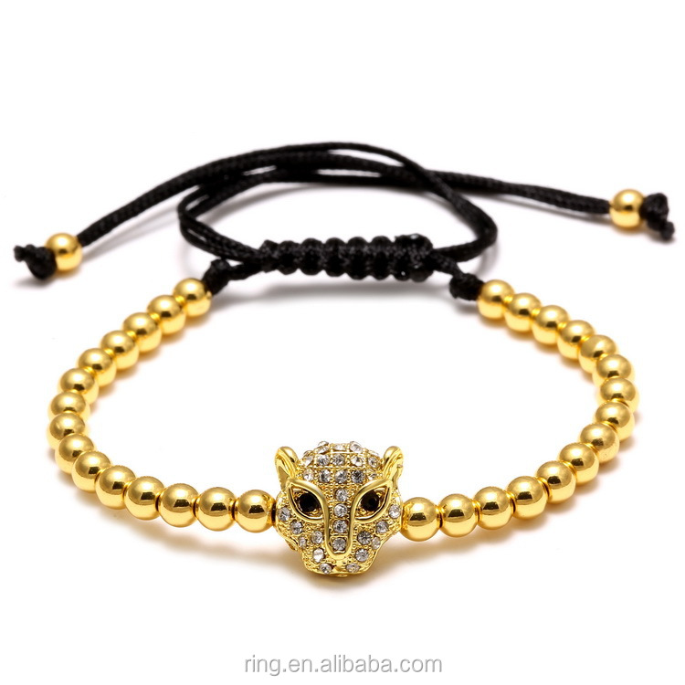 Leopard 4mm Round Gold Copper Alloy Beads Men/Women Rhinestone Bracelet