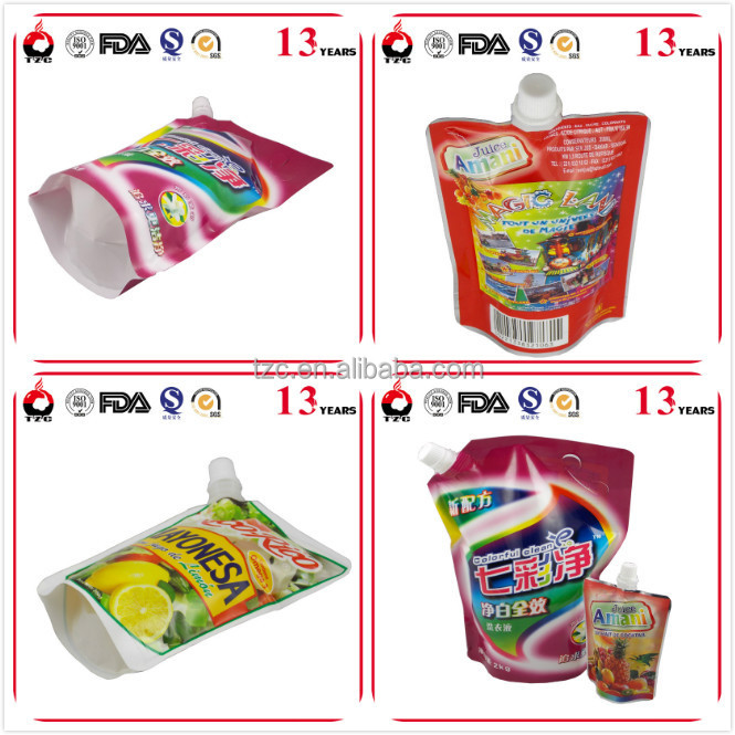 custom printed stand up pouches with spout for liquid packaging