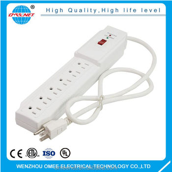 Universal 6 outlets surge protector power strip with Indicator
