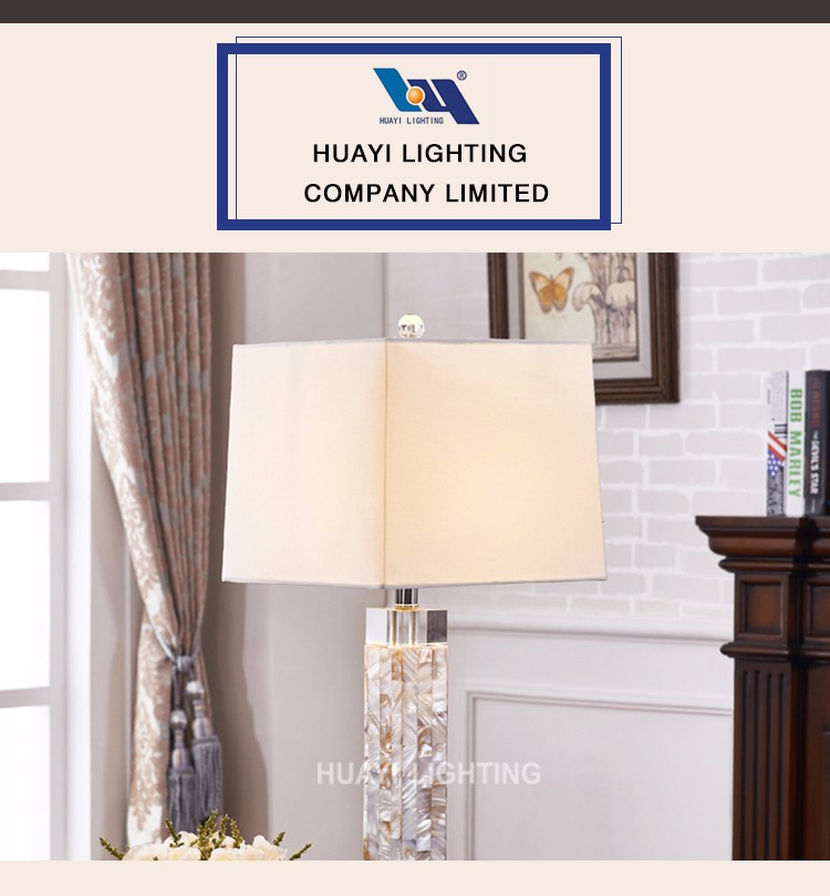 Wholesale MOQ 5 PCS Shell Crystal Metal Fashion Bedside table lamp for hotel