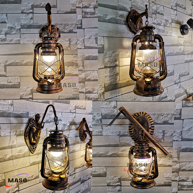 New Products Oil Lantern wall  sconces Vintage wall Lamp brass antiques light indoor wall lights indoor