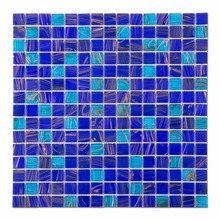 Cheap Golden Line Blue Square Glass Swimming Pool Mosaic Tile