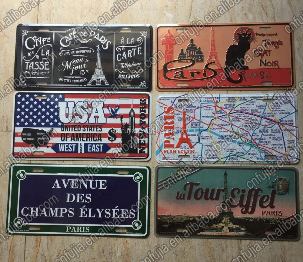 WCA, SGS France Factory embossed aluminum car license plate, antique metal plate