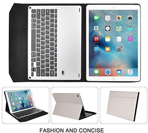 "For Apple iPad Pro 12.9"" Magnetically Detachable ABS Ultra-thin aluminum Tablet Bluetooth Keyboard Portfolio Smart Cover 2016"