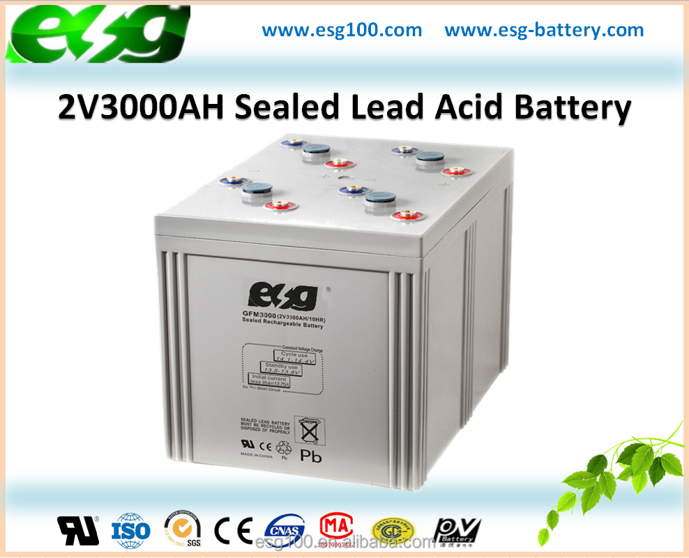 2V3000AH VRLA Sealed Lead Acid Rechargeable MF Storage AGM Battery