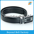 Beyond Men's 3.5cm Wide Black Split Leather Ratchet Belt with Stylish Automatic Buckle