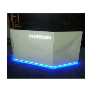 OS-RE-0010 Reception desk white high gloss modern information desk