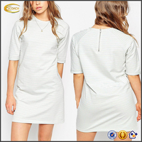 Ecoach 2016 Latest High Quality Round Neck Short Sleeve Stripe Tunic Dresses For Women