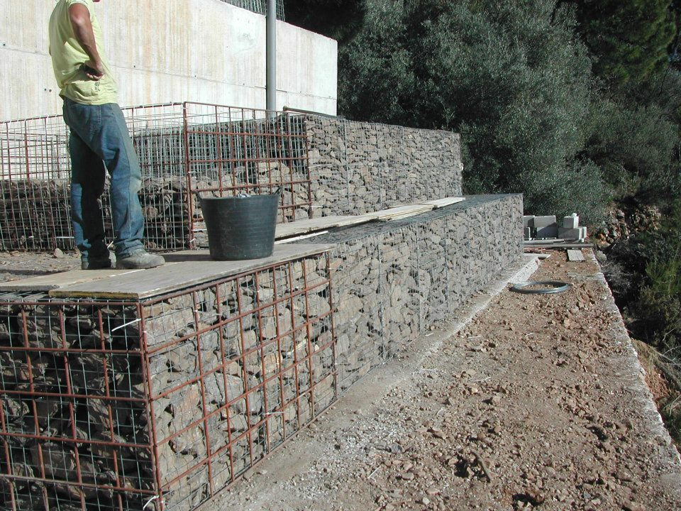 rock basket retaining walls/ gabion wall/gabion basket as retaining wall