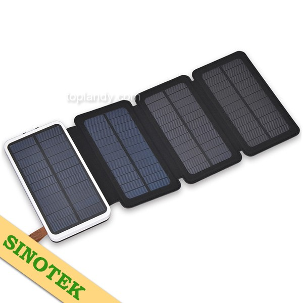SINOTEK durable 5.2w 3-fold portable panel 20000mAh li-polymer power bank solar phone charger