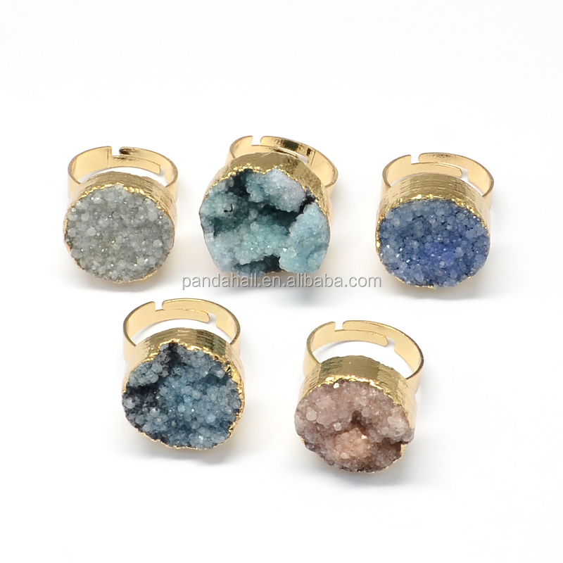18mm Adjustable Golden Plated Natural Druzy Agate Brass Gemstone Rings