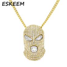 Iced Out Hip-hop Jewelry Cuban Link Chain Diamond Goon Ski Mask Man Pendant Necklace