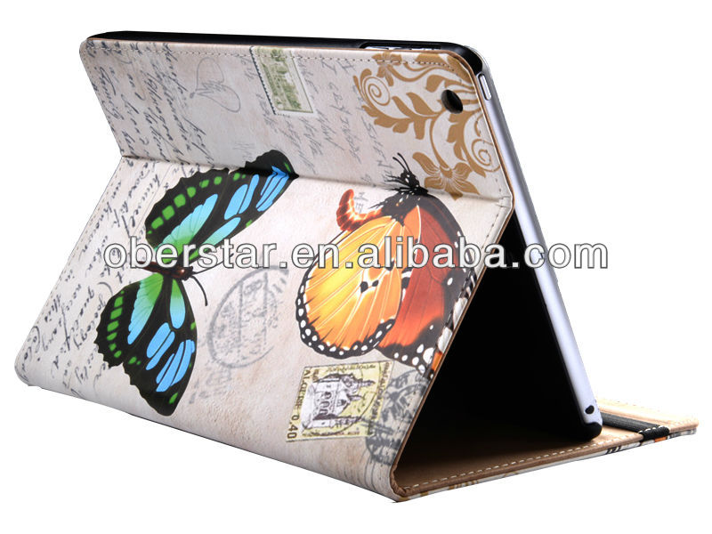 flower floral pattern stand up leather case for Apple iPad 5 /Air