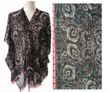 Beautiful paisley printed 100% polyester ladies summer poncho shawl SL-128