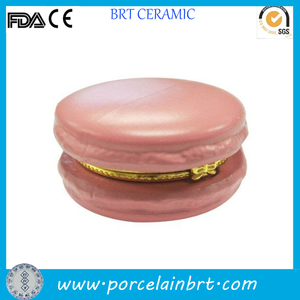 Pink keepsake unique ceramic Macaron trinket