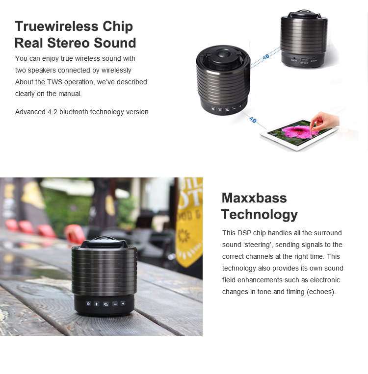 portable mini daisy chain true wireless bluetooth speaker