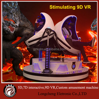 Stimulating Triple 9D VR Simulator Ride , Playground Virtual Reality Game Factory In China