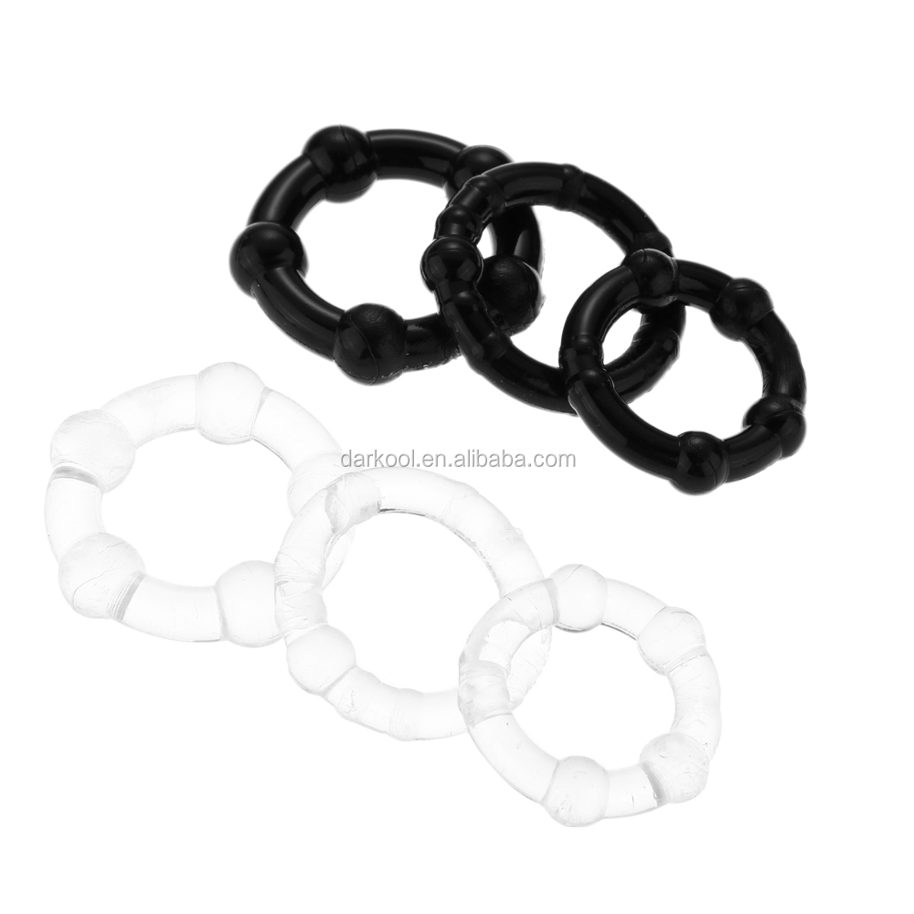 C002/Bulk rubber delay head triple beaded cock and ball penis rings
