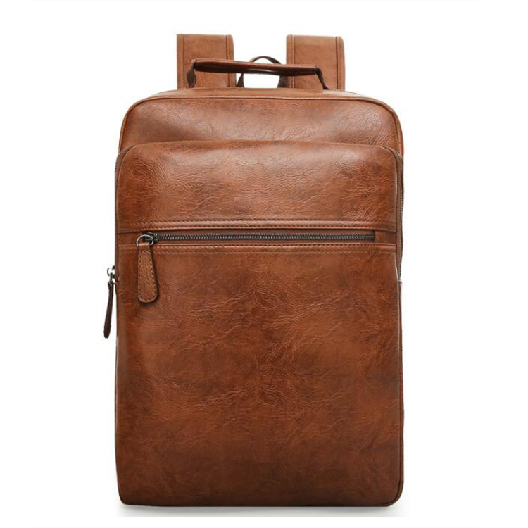 Factory wholesale men pure brown color PU leather large capacity USB charging fashion leisure laptop school <strong>backpack</strong>