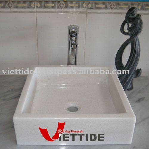 Hand-Carved White Marble Sink Basin