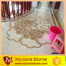 New Design Waterjet beige entry marble medallion