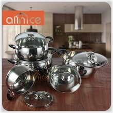 10pcs stainless steel cooking pot set with glass cover and color coating on body hot pot