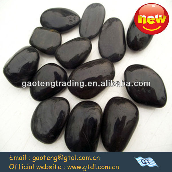 Black color polished river rocks