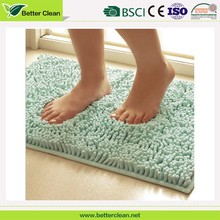 Rubber backed hotel bathroom anti slip protection chenille shaggy bath rug