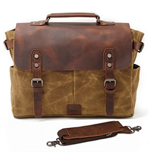 BOSHIHO High Quality Genuine Leather Laptop Canvas Messenger Bag 14 inch Shoulder Briefcase Waterproof