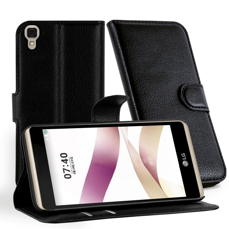 Synthetic Leather Wallet Leather Back Cover For LG X Skin Mobile Phone Case
