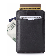 Genuine Leather Ultra Thin Card Holder Slim Card Sleeve Wallet with RFID Protection