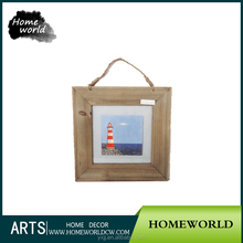 Top quality artificial natural wood frame picture with glass