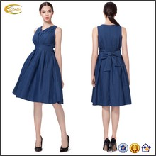 Ecoach Wholesale OEM Fashion Dresses Simple Cut V Neck Back Bow Hidden Zipper Solid Sleeveless Denim Dress