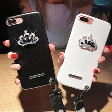 Luxury diamond crown case for iphone6 6s 6plus, TPU leather bling diamond hand rope phone case for iphone7 7plus
