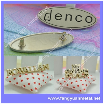 Logo metal plate for handbags,designer metal labels for handbags