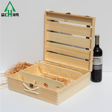 Custom handmade 4 bottles wooden wine gift boxes hinged box for wine