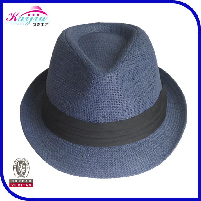Fashion design handmade men's straw hat fedora hat in paper