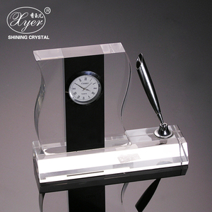 Hot sale k9 crystal clock wedding table decoration business gift ideas