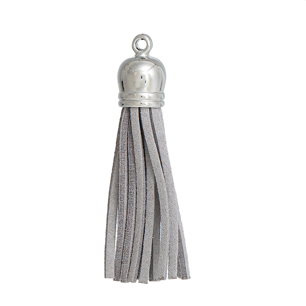 Polyester Tassel Pendants Silver Tone Gray About 59mm x 12mm
