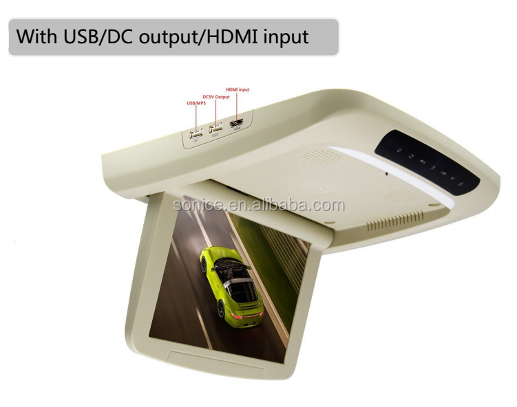 10.1 inch HD LED fully motorized roof-mount monitor with touch button
