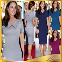 2016 Summer Kate Middleton Dresses Celebrity Peter Pan Collor Pencil Sheath bodycon Slim Business Party XXL Casual Women Dress