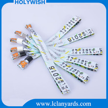 Polyester one time fabric woven custom your logo wristbands with id for event