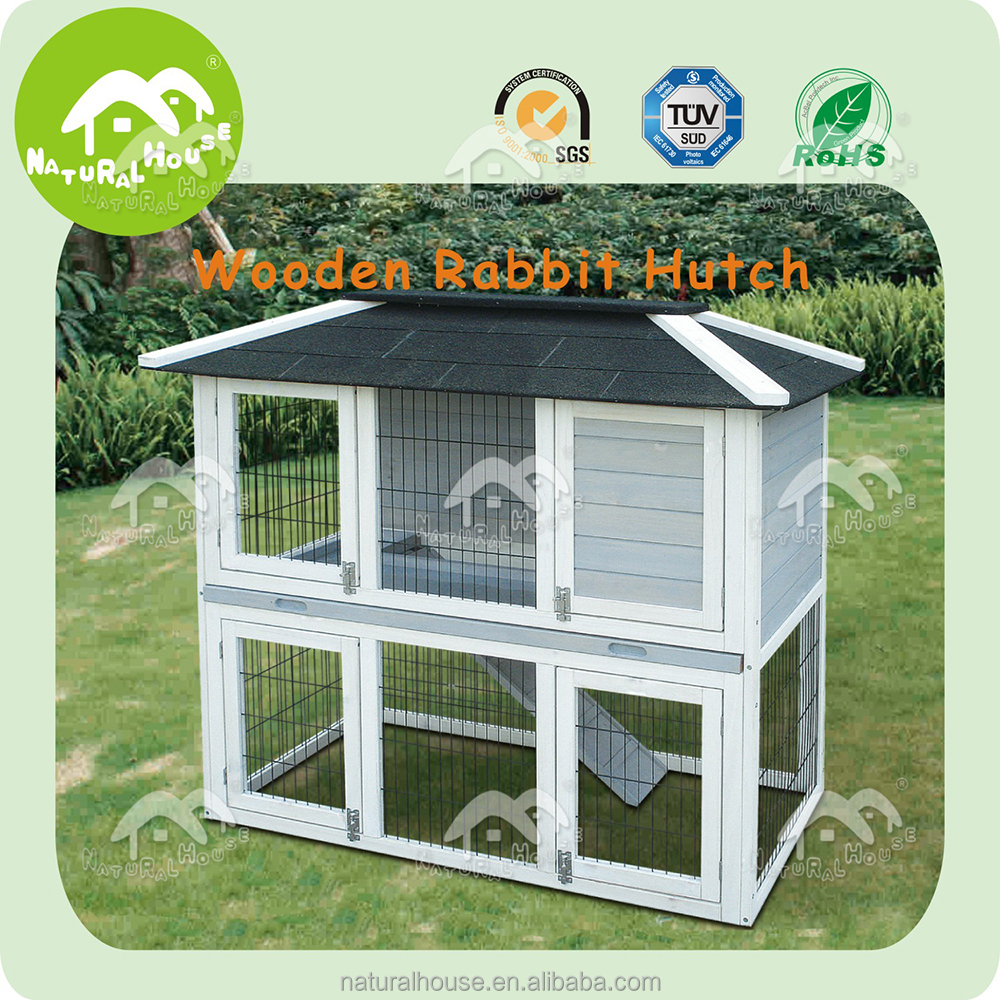 high quality easy assembled outdoor handmade wooden rabbit hutch, imports pet supplies