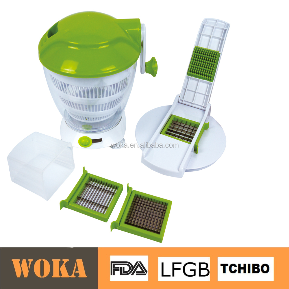 kitchen tool manual multi blade vegetable dicer/salad spinner