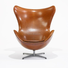 hot sale modern egg shape italian leather swivel cheap lounge chairs