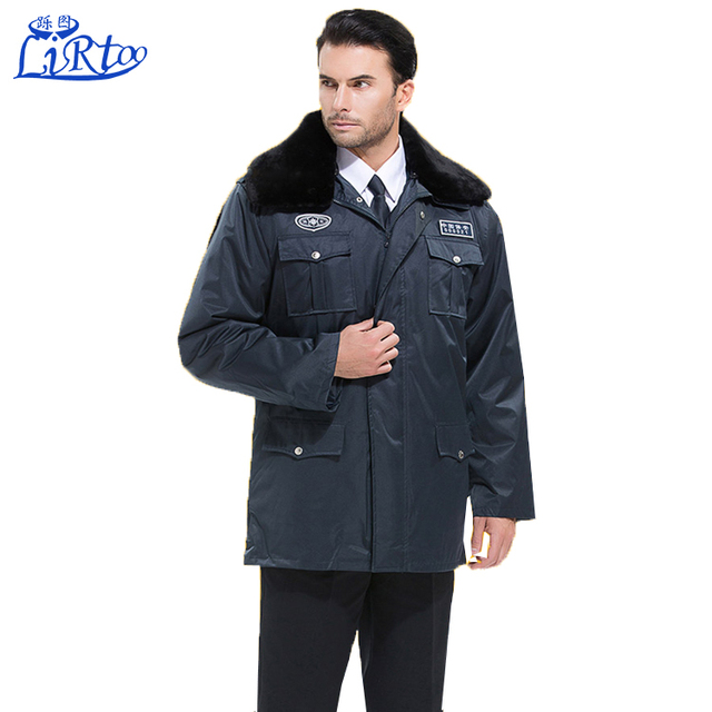 High quality wool men winter working clothing safety winter security guard uniform wholesale