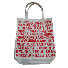 Custom city name printed plain canvas tote bag with hidden pocket